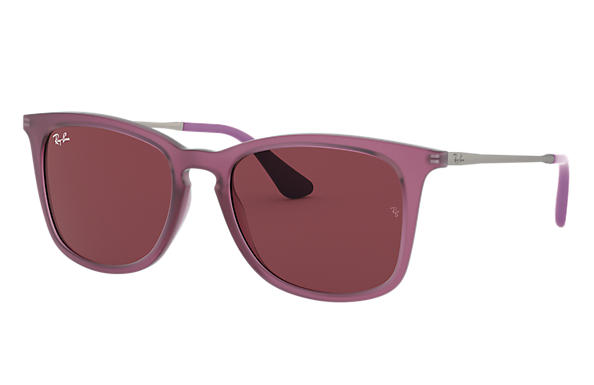 Ray-Ban RJ9063S Matte Transparent Fuxia with Dark Violet Classic lens