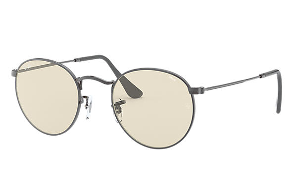 Ray-Ban Sunglasses ROUND SOLID EVOLVE Gunmetal with Light Brown/Grey Photochromic Evolve lens