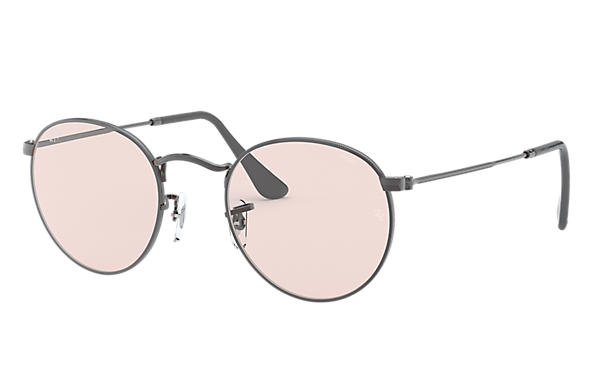 Ray-Ban Sunglasses ROUND SOLID EVOLVE Gunmetal with Pink/Violet Photochromic Evolve lens