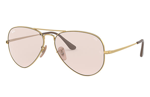 Ray-Ban Sunglasses RB3689 SOLID EVOLVE Gold with Pink/Violet Photochromic Evolve lens