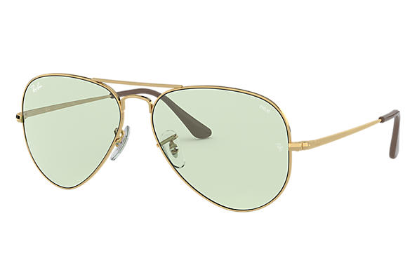 Ray-Ban Sunglasses RB3689 SOLID EVOLVE Gold with Green/Blue Photochromic Evolve lens