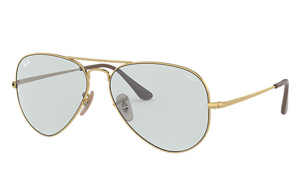 Ray-Ban Sunglasses RB3689 SOLID EVOLVE Gold with Light Blue/Dark Violet Photochromic Evolve lens