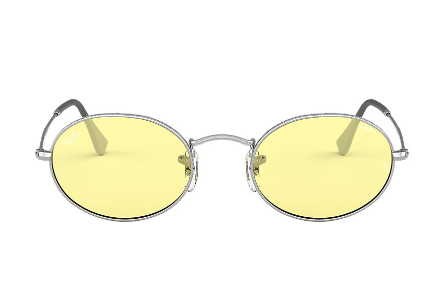 Ray-Ban Sunglasses OVAL SOLID EVOLVE Silver with Yellow/Light Red Photochromic Evolve lens