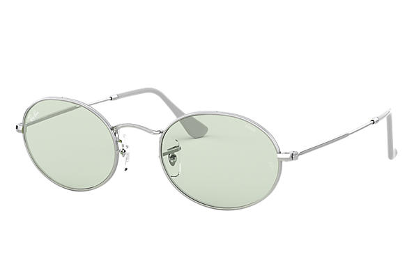 Ray-Ban Sunglasses OVAL SOLID EVOLVE Silver with Green/Blue Photochromic Evolve lens