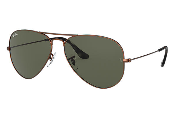 Ray-Ban Sunglasses AVIATOR CLASSIC Brown Metal with Green Classic G-15 lens