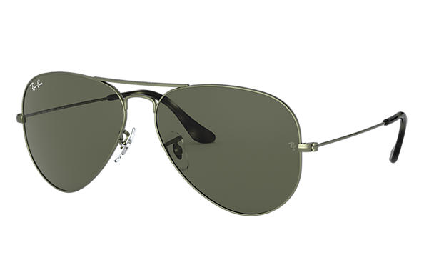 Ray-Ban AVIATOR CLASSIC Brown Metal with Zielony Classic G-15 lens
