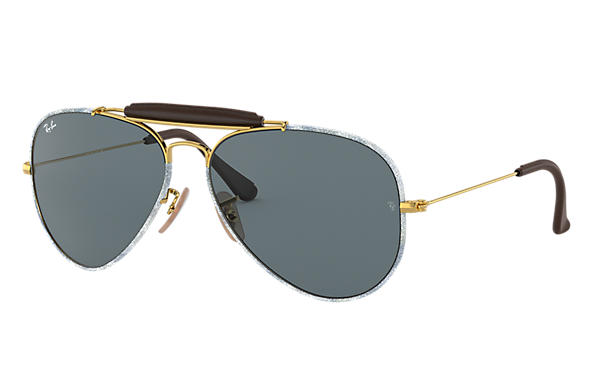 Ray-Ban 0RB3422Q-OUTDOORSMAN CRAFT Denim bleu,Or; Or SUN