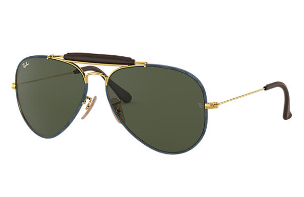 Ray-Ban 0RB3422Q-OUTDOORSMAN CRAFT Blue Denim,Gold; Gold SUN