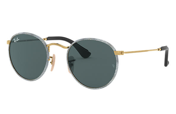 Ray-Ban 0RB3475Q-ROUND CRAFT Blue Denim,Gold; Gold SUN
