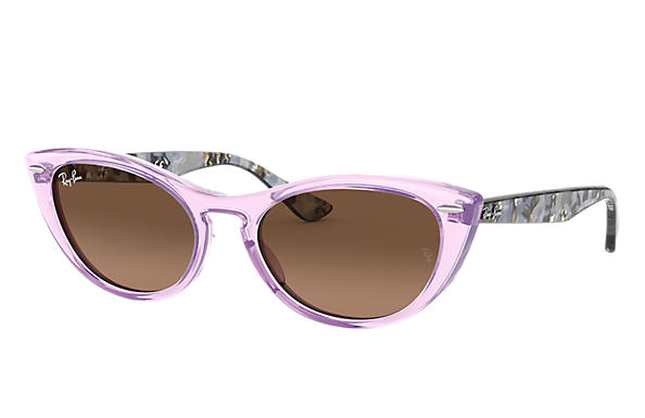 Ray-Ban Sunglasses NINA Transparent Violet with Brown Gradient lens