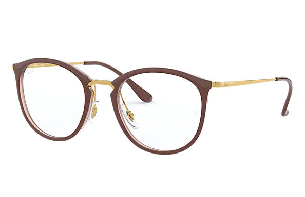 Ray-Ban 0RX7140-RB7140 Marrom,Transparente; Ouro OPTICAL
