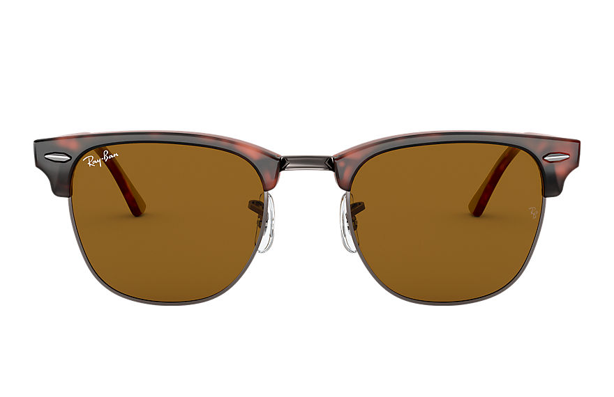 Ray-Ban Sunglasses CLUBMASTER CLASSIC Matte Black with Brown Classic B-15 lens