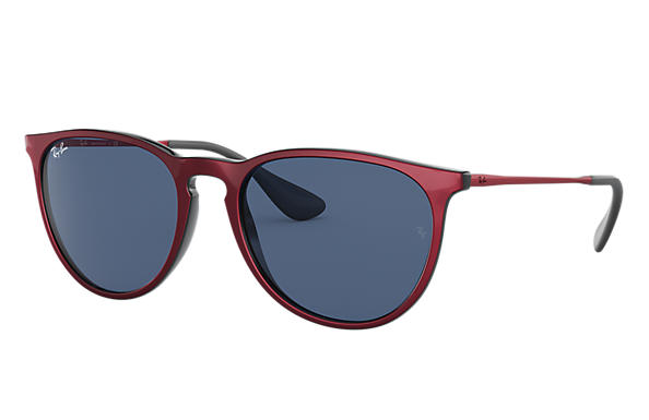 Ray-Ban Sunglasses ERIKA COLOR MIX LOW BRIDGE FIT Red Metal with Dark Blue Classic lens