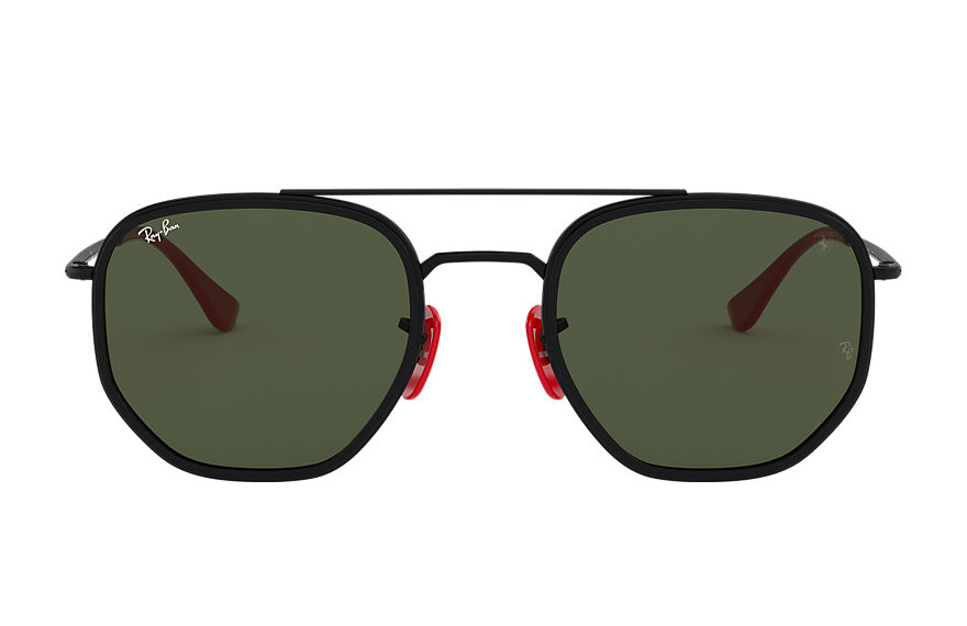 Ray-Ban Sunglasses RB3748M SCUDERIA FERRARI COLLECTION Black with Green Classic G-15 lens