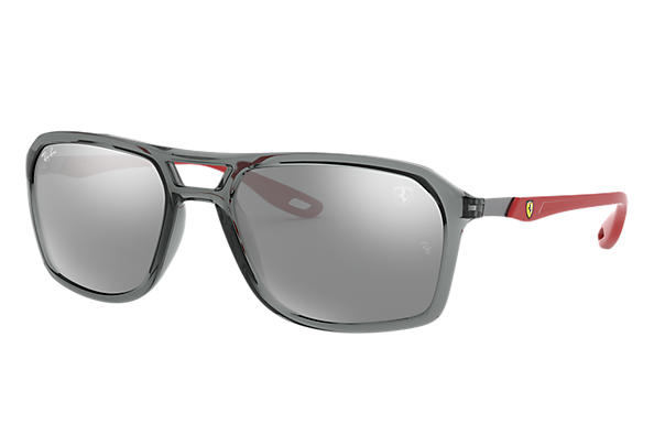 Ray-Ban 0RB4329M-RB4329M SCUDERIA FERRARI COLLECTION Transparent Grey,Gris; Rubber Red,Rouge SUN