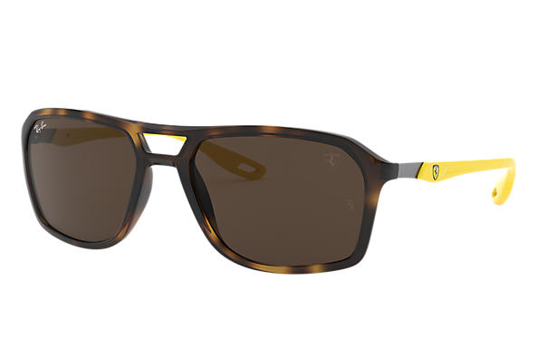 Ray-Ban Occhiali-da-sole RB4329M SCUDERIA FERRARI COLLECTION Tartaruga con lente Marrone scuro Classica