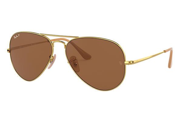 ray ban aviator brown gold price