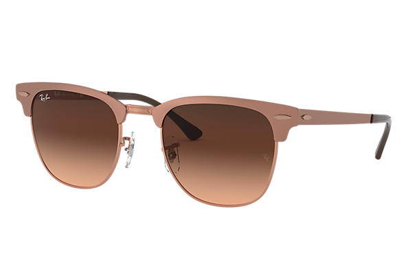 Ray-Ban Occhiali-da-sole Clubmaster Metal @Collection Bronzo-Rame con lente Rosa/Marrone Sfumata