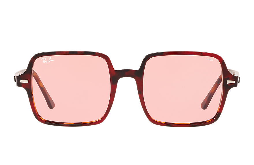Ray-Ban Sunglasses SQUARE 1973 HD70 Red Havana with Pink Photocromic lens