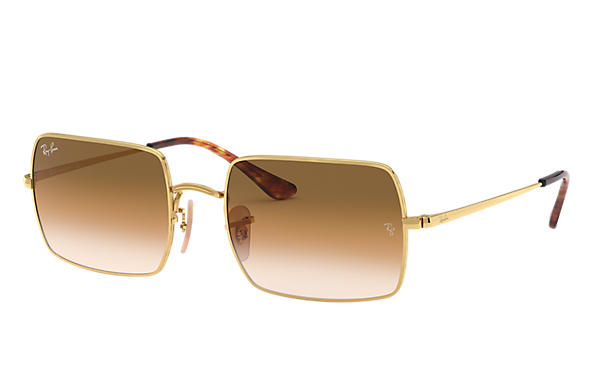 Ray-Ban Occhiali-da-sole RECTANGLE 1969 Oro con lente Marrone Chiaro Sfumata