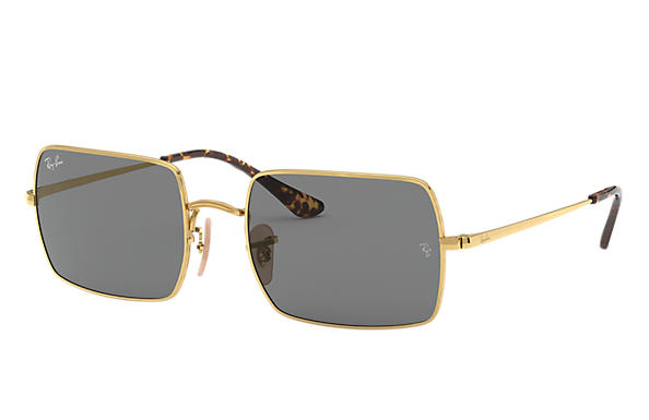 Ray-Ban Sunglasses RECTANGLE 1969 Gold with Dark Grey Classic lens
