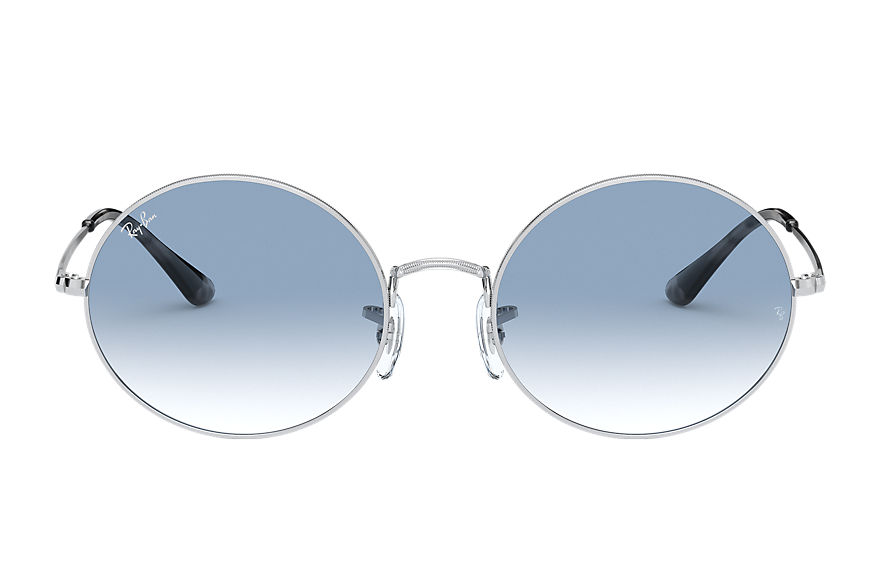 Ray-Ban Sunglasses OVAL 1970 Silver with Light Blue Gradient lens