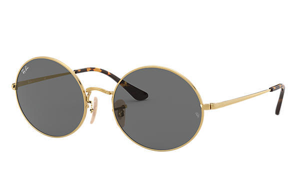 Ray-Ban Sunglasses OVAL 1970 Gold with Dark Grey Classic lens