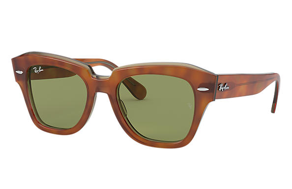 Ray-Ban Sunglasses STATE STREET Tortoise with Light Green Classic lens
