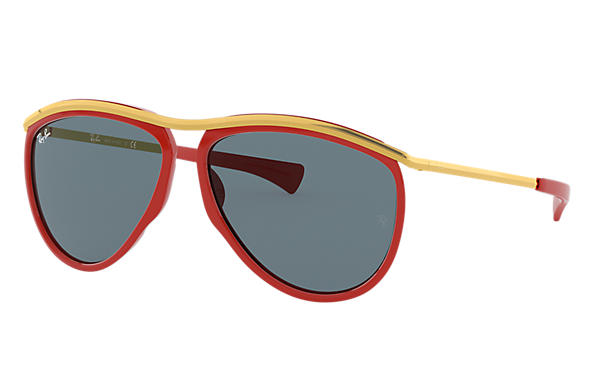 Ray-Ban Sunglasses AVIATOR OLYMPIAN Red with Blue Classic lens
