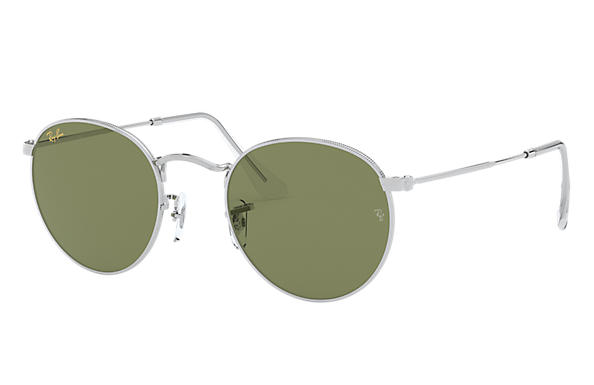 Ray-Ban Oculos-de-sol ROUND METAL LEGEND GOLD Prata com Light Green Clássica lentes