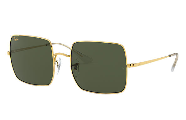 Ray-Ban Sunglasses SQUARE 1971 LEGEND GOLD Gold with Green Classic G-15 lens