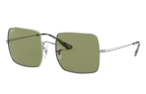 Ray-Ban Sunglasses Square 1971 Classic Silver with Light Green Classic lens