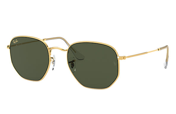Ray-Ban Sunglasses HEXAGONAL LEGEND GOLD Gold with Green Classic G-15 lens
