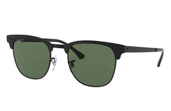 Ray-Ban Sunglasses CLUBMASTER METAL Black with Green Classic G-15 lens