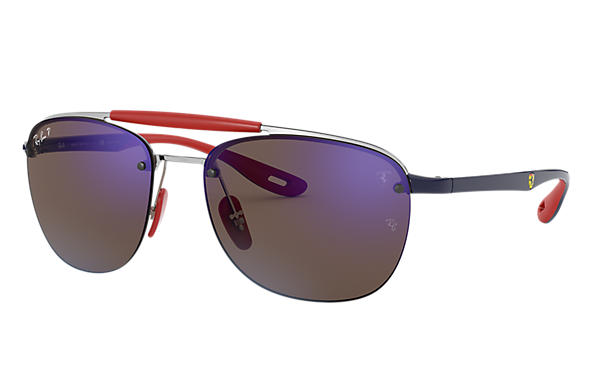 Ray-Ban Sunglasses RB3662M SCUDERIA FERRARI COLLECTION Silver with Blue Mirror Chromance lens