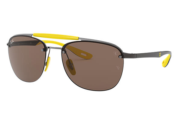 Ray-Ban Sunglasses RB3662M SCUDERIA FERRARI COLLECTION Gunmetal with Dark Brown Classic lens