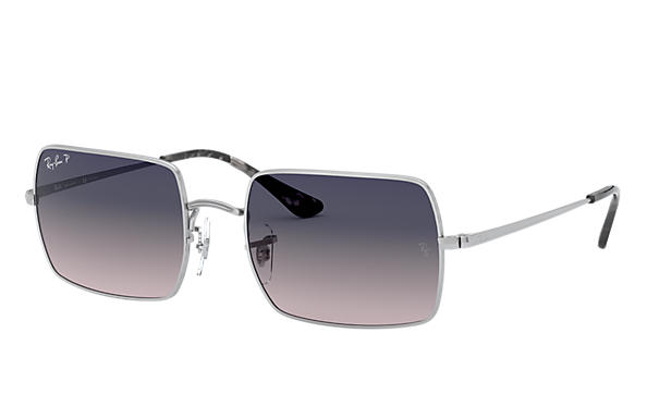 Ray-Ban Sunglasses RECTANGLE 1969 Silver with Blue/Grey Gradient lens