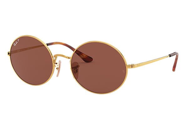 Ray-Ban Sunglasses OVAL 1970 Gold with Purple Classic lens