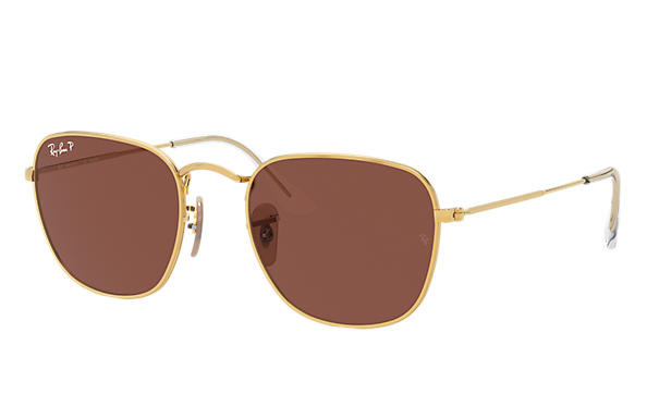 Ray-Ban Sunglasses FRANK Gold with Purple Classic lens