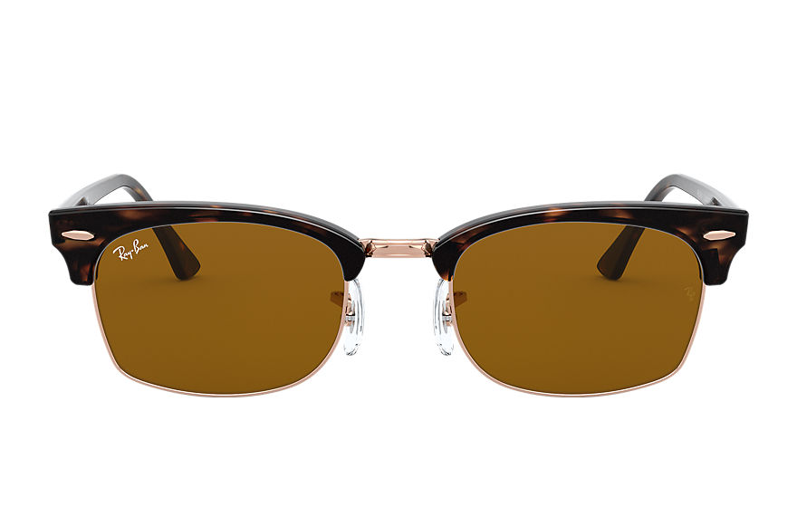 Ray-Ban Sunglasses CLUBMASTER SQUARE Shiny Havana with Brown Classic B-15 lens