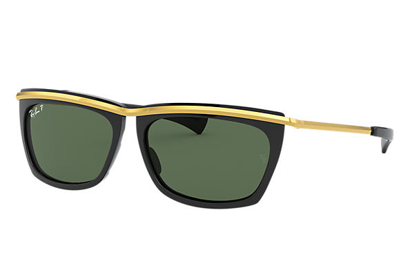Ray-Ban Sunglasses OLYMPIAN II Shiny Black with Green Classic G-15 lens