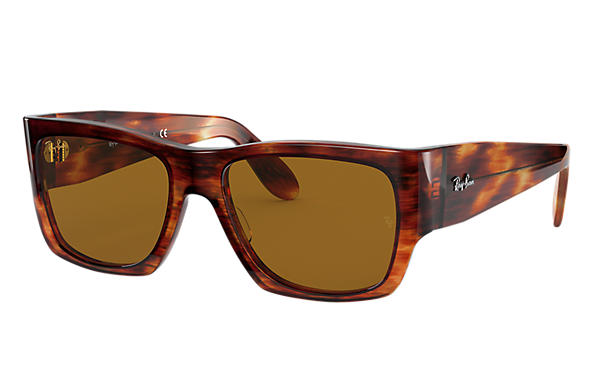 Ray-Ban 0RB2187-NOMAD LEGEND GOLD Striped Havana SUN