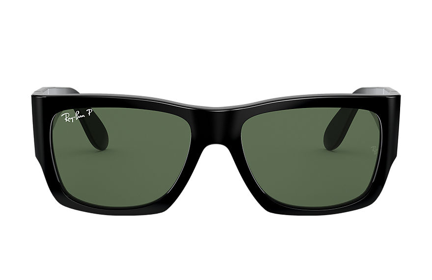 Ray-Ban Sunglasses NOMAD Shiny Black with Green Classic G-15 lens