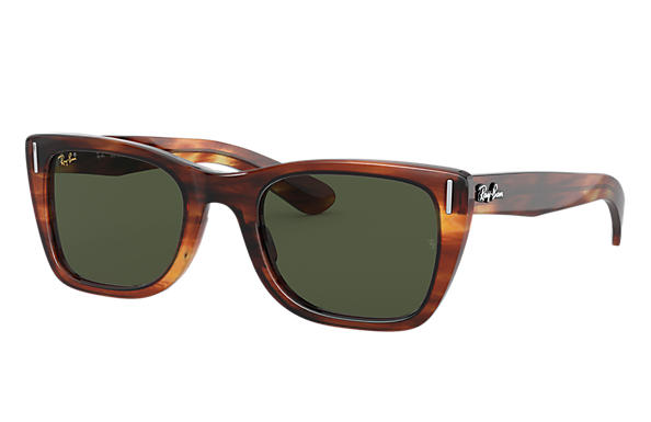 Ray-Ban Sunglasses CARIBBEAN Striped Havana with Green Classic G-15 lens