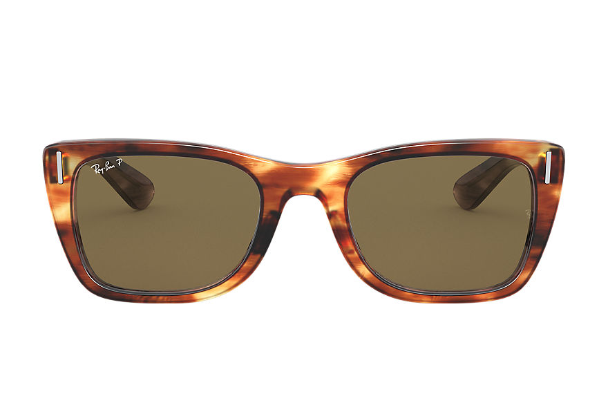 Ray-Ban Sunglasses CARIBBEAN Striped Havana with Brown Classic B-15 lens