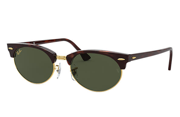Ray-Ban Sunglasses CLUBMASTER OVAL LEGEND GOLD Mock Tortoise with Green Classic G-15 lens