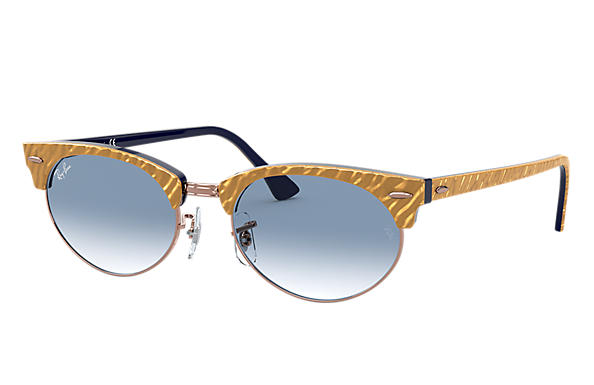 Ray-Ban 0RB3946-CLUBMASTER OVAL Wrinkled Beige,Azul SUN