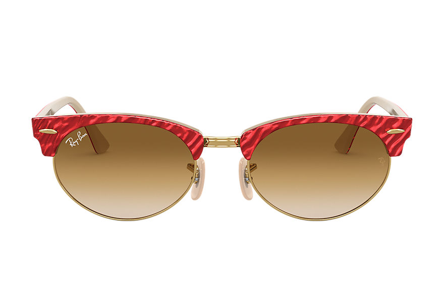 Ray-Ban  gafas de sol RB3946 UNISEX 002 clubmaster oval wrinkled red 8056597243483