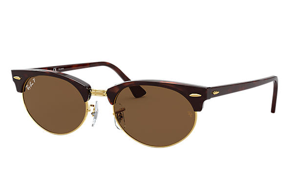 Ray-Ban Sunglasses CLUBMASTER OVAL Mock Tortoise with Brown Classic B-15 lens