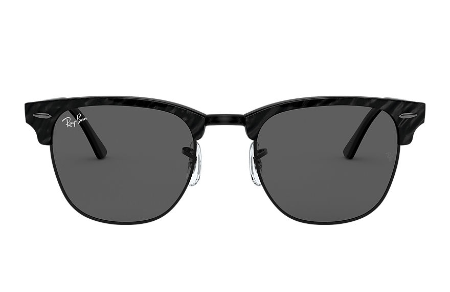 Ray-Ban Sunglasses CLUBMASTER MARBLE Wrinkled Black with Dark Grey Classic lens